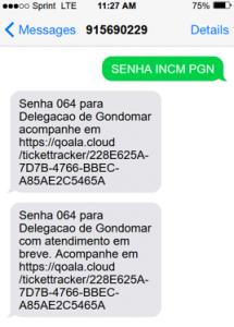 Senha via SMS atendimento contrastarias - passo 3