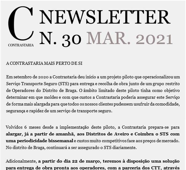 Newsletter 30 - março 2021