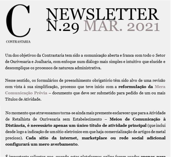 Newsletter 29 - março 2021